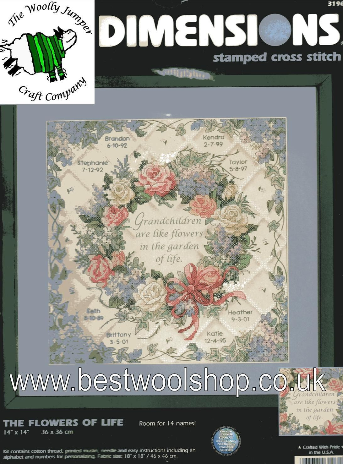 DIMENSIONS 3196 - STAMPED CROSS STITCH - GRANDCHILDREN ARE LIKE FLOWERS IN  THE GARDEN OF LIFE - 36CM X 36CM - 14